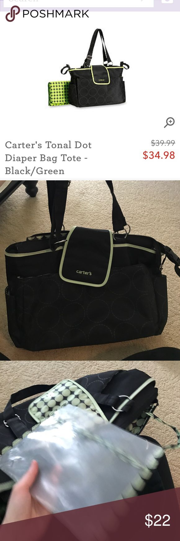 Carters diaper bag Black and green Carters diaper bag, still for sale at toys r us!  Missing the changing pad, but otherwise minimal use.  Definitely big enough for 1 kid- my two are so close together I found I needed something larger for 2 sets of diapers, clothes, toys, etc Carter's Accessories Bags