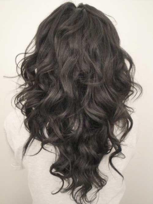 V Cut Layered Curly Hair