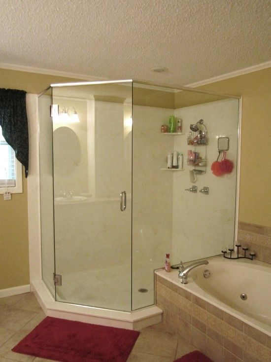 Interior Design, Traditional Bathroom With Awesome White Cultured Marble Shower  Walls Also Cool Glass Door