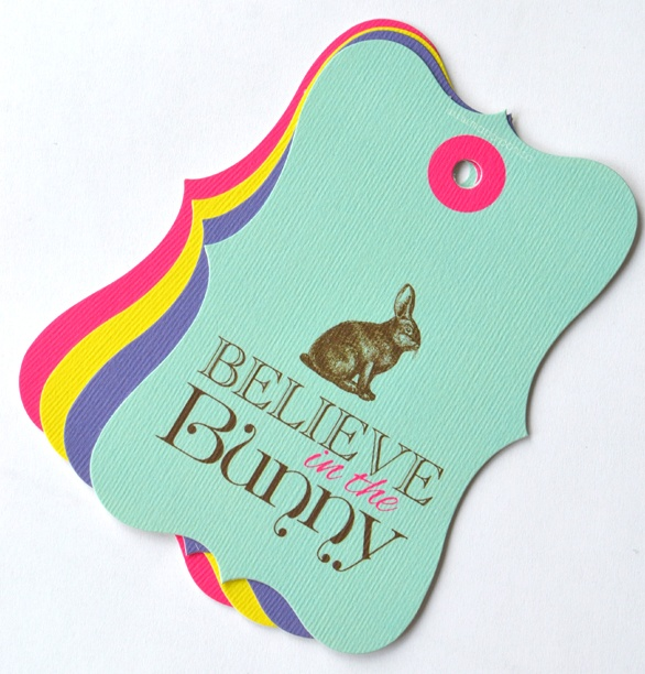 """""""Believe In The Bunny"""" this Easter with these gorgeous scalloped Easter tags: www.macaroon.co"""