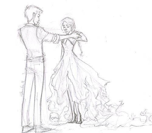 katniss and cinna--> again, this dress is so much better that it was in the movie, it is pretty much EXACTLY how I imagined it !!