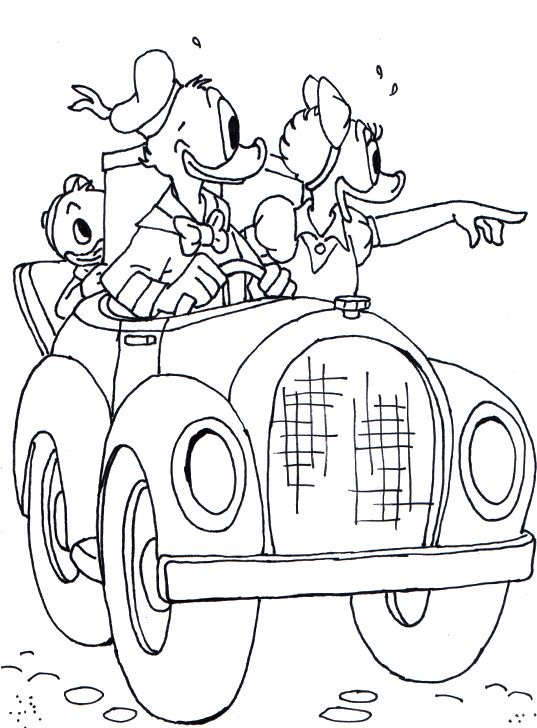 Donald Driving Car With Daisy Coloring Page Mickey Et