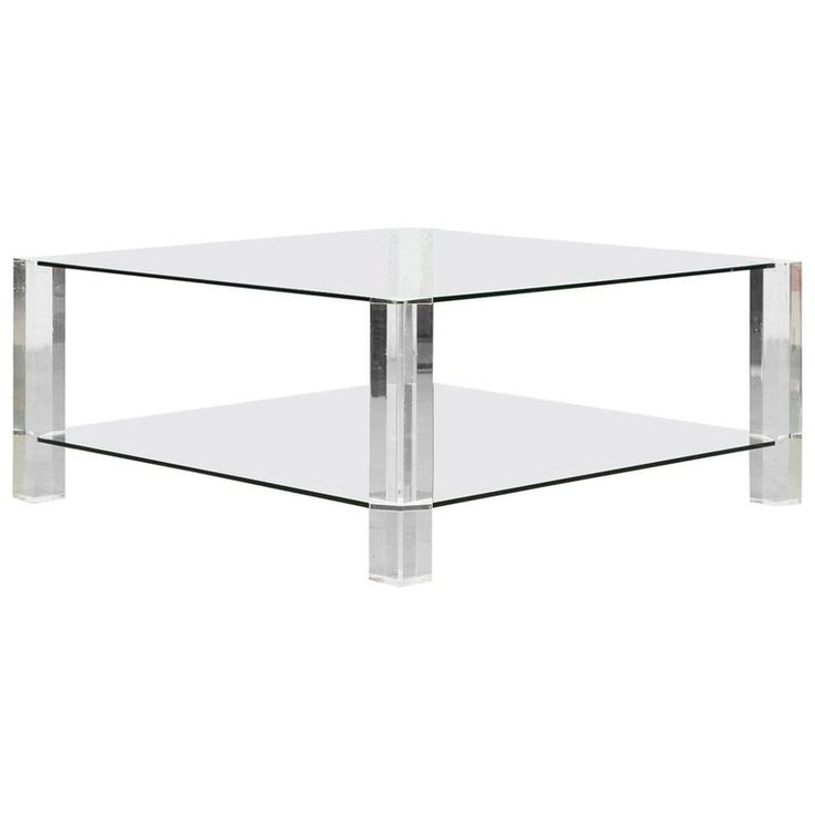 Two-Tiered 1970s Lucite and Glass Coffee Table | From a unique collection of antique and modern coffee-tables-cocktail-tables at https://www.1stdibs.com/furniture/tables/coffee-tables-cocktail-tables/