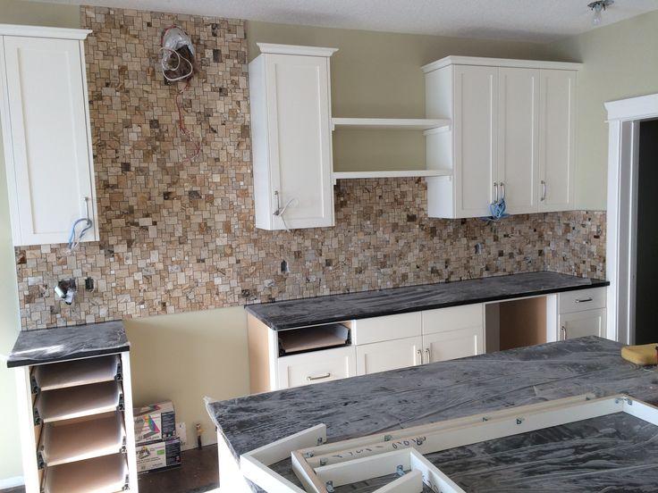 new build work in progress kitchen backsplash supplied