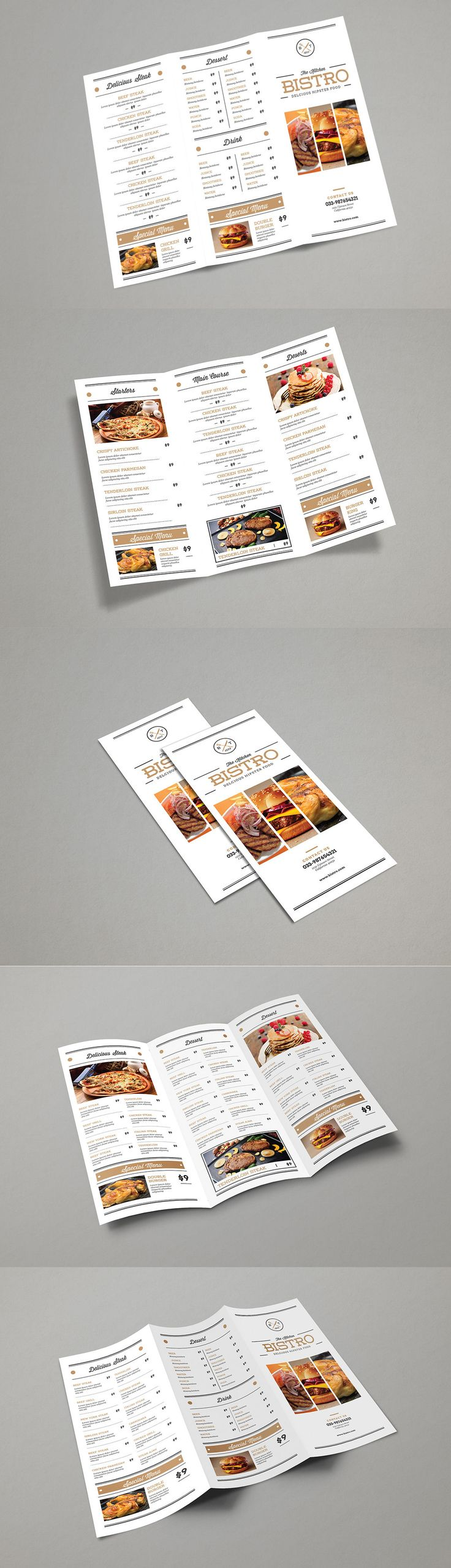 Trifold Minimalis Menu Brochure Template Vector AI, PSD