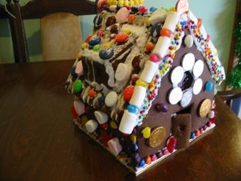 Lge gingerbread house with stained glass windows