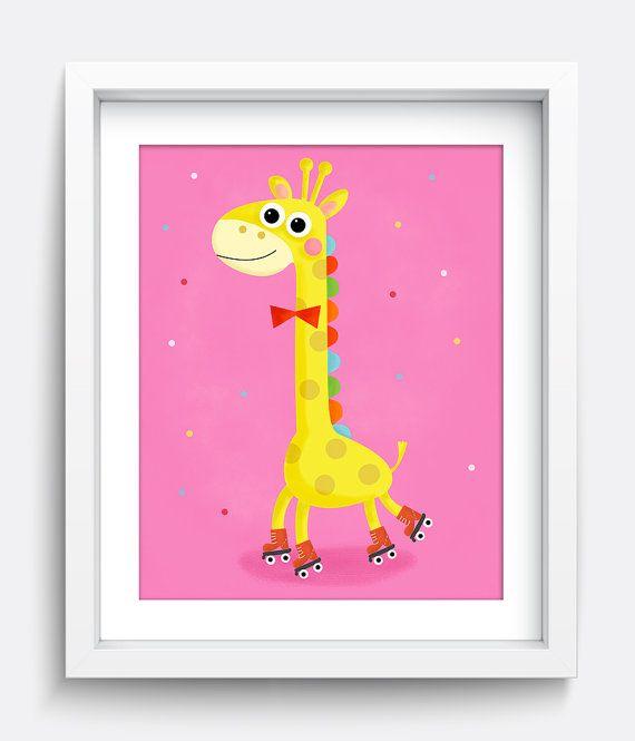 Giraffe Print, Giraffe Gift, Wall Art Prints, Printable, Instant Download, Girls Room Decor, Pink Art Print, Animal Print