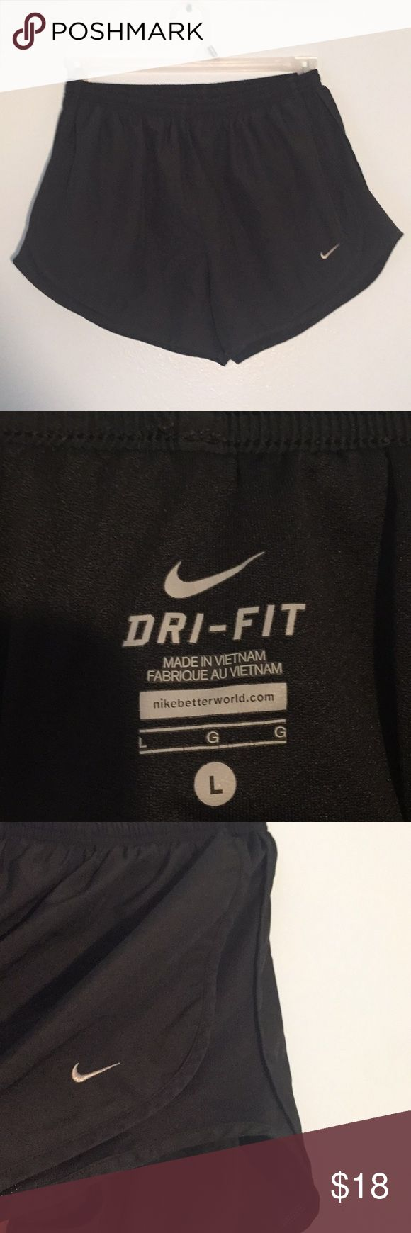 Women's Black Nike Dri-fit Shorts These shorts were hardly worn and are in excellent condition! They are elastic with drawstring so they can be held in place. There is built in underwear so you don't have to worry about flashing anyone on leg day. I don't trade but feel free to make me an offer! Nike Shorts