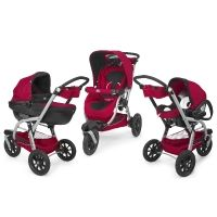 Trio Activ3 Chicco Red Wave pack poussette 3 roues 2015 rouge