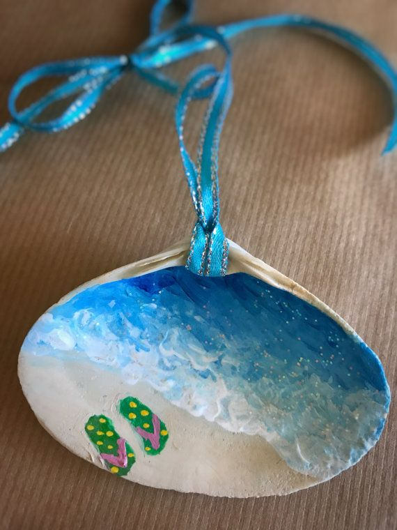 Flip Flops Painted Seashell Ornament by CoquinaOnWestshore on Etsy