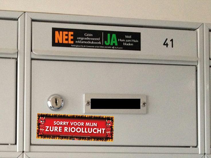#Plak deze Sticky Devil op de #brievenbus van je #buren, als je de #stankoverlast van de #buren zat bent!  Bekijk al onze stickers op: http://www.stickydevils.nl/