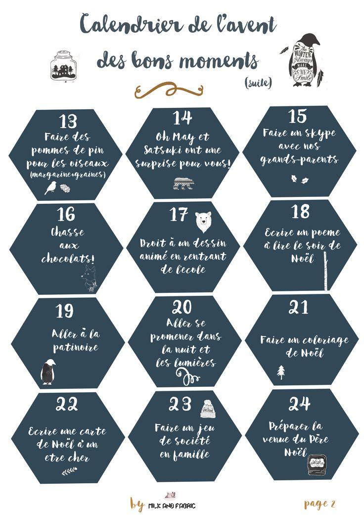 Un printable gratuit pour un calendrier de l'avent des moments