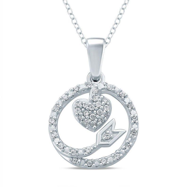 Zales 1/10 CT. T.w. Diamond Dainty Heart Pendant in Sterling Silver elx56M