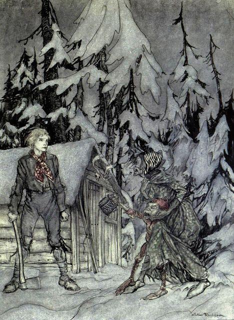 Arthur Rackham- Peer Gynt -Peer and the Troll witch