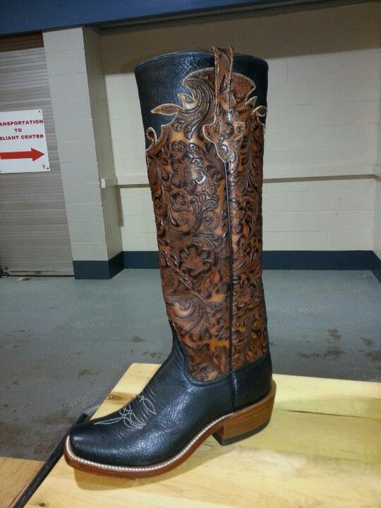 """Gorgeous boots Handmade Rios of Mercedes Black Smooth Ostrich with 16"""" Perfect tool top made for Davis boots"""