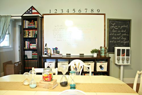 Organized homeschool room | OrganizingMadeFun.com