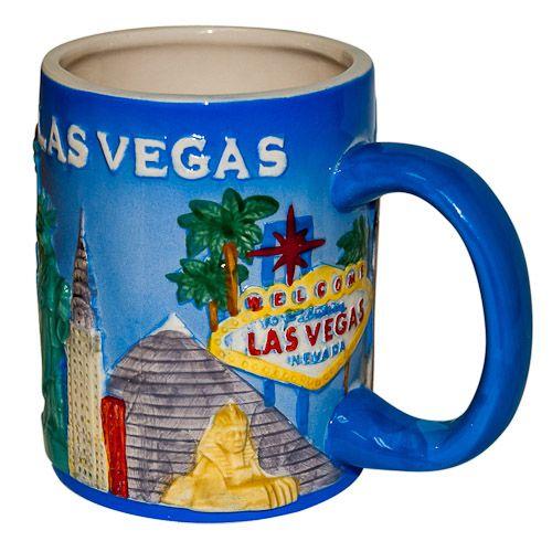 Decorative Mug: United States. Nevada. Las Vegas. Sculpted Blue Dolomite Mug