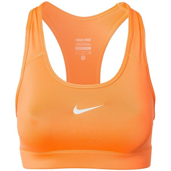 New Nike Pro Bra (56 AUD) ❤ liked on Polyvore featuring activewear, sports bras, sport, workout, tops, orange, sports fashion, womens-fashion, orange sports bra and nike