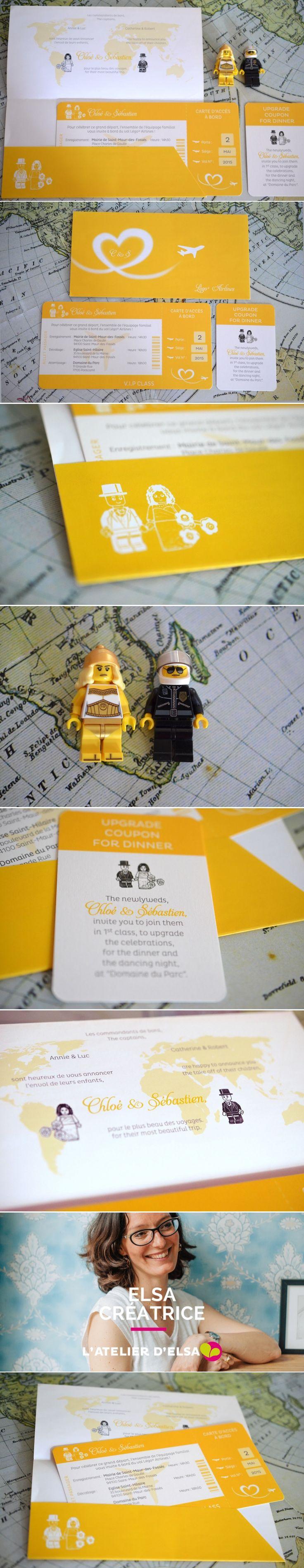 Faire-part Voyage Lego • Invitation mariage billet d'avion + Carte Lego d'embarquement Creation L'Atelier d'Elsa • Lego Wedding Airline Ticket invitation #weddingInvitation #fairepartMariage #fairepartBilletAvion