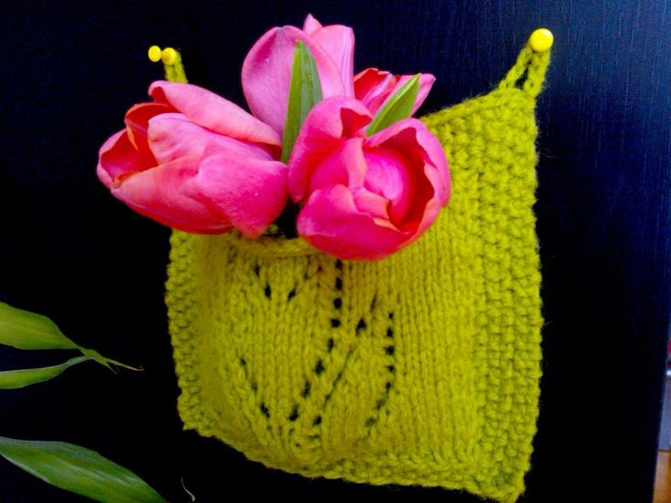 Knitted pouch with tulips