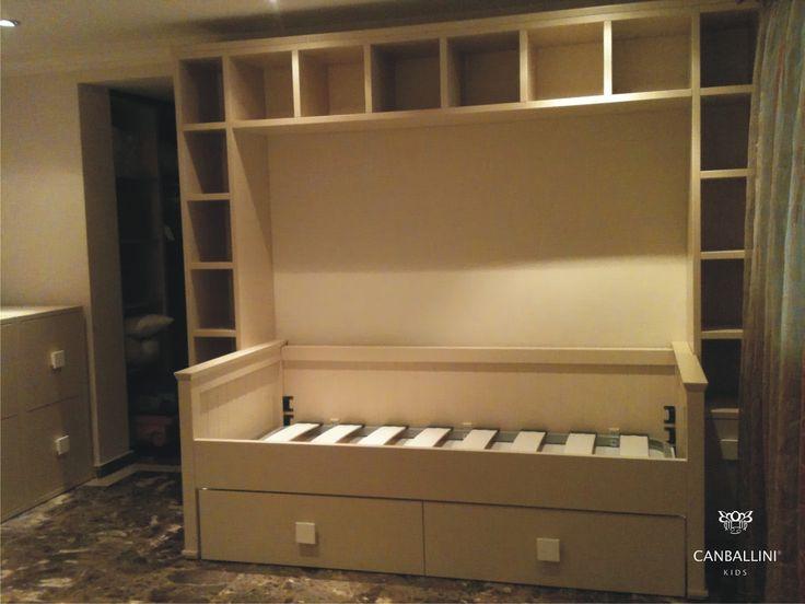 Sof cama con cajones y estanteria puente habitaciones infantiles y juveniles pinterest - Sofas con cajones ...