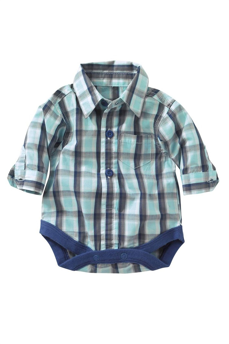Newborn Tops - Baby Tops and Infantwear - Next Check Long Sleeved Shirt Body - EziBuy Australia