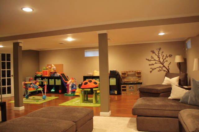finished basement with plenty of room for a play area for the kids