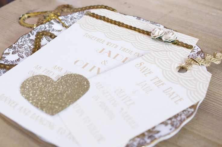 Scallop 1920's insprired gold invitation and save the date. www.paperwedding.co.uk Photographs by Michelle Huggleston Photography.