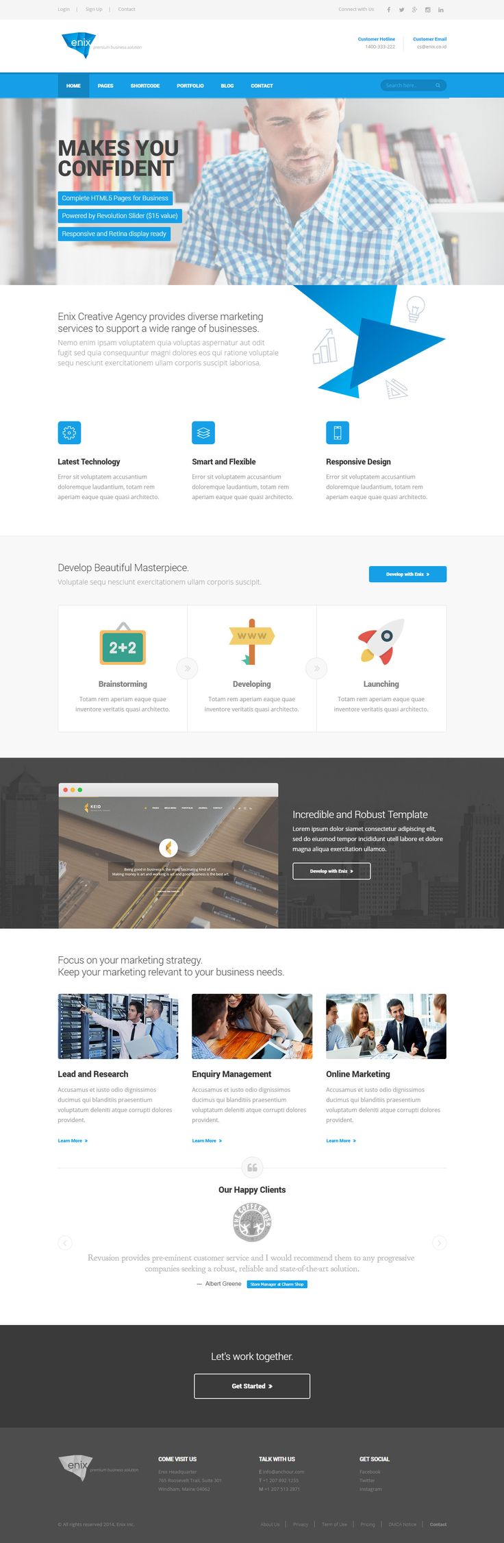 Modern Minimalist Responsive HTML template Theme features