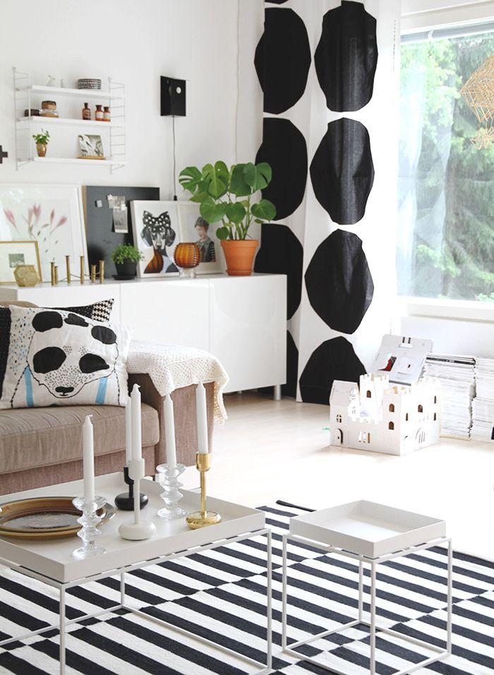 Black and white scheme with Marimekko curtains