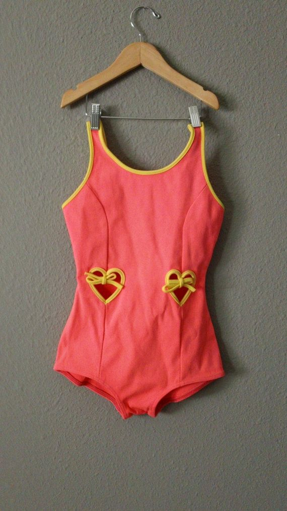 60s Neon Orange Catalina Swimsuit with peek a boo by CompanyV, $24.99