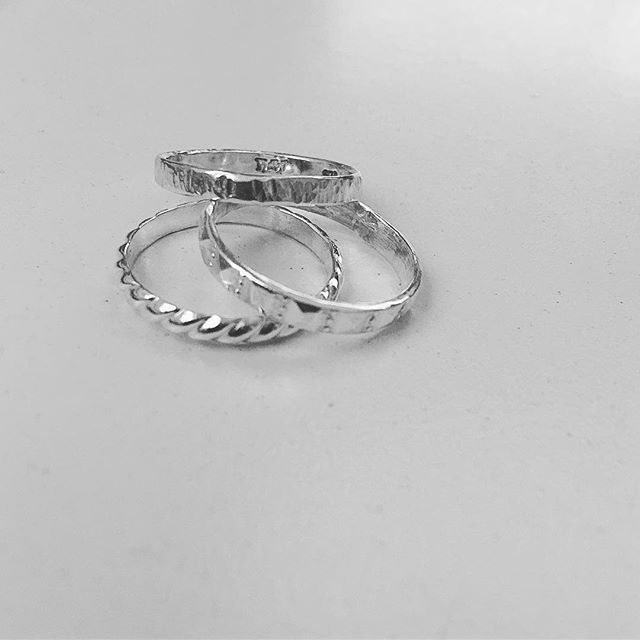 Finished #samples  of #stackingrings #thejewellersstudio #mt_eden_is_home #rings #fashionjewelry #herbertandwilks #sallyherbert #madetobeworn #madetoorder #makeyourown #airbnbexperience