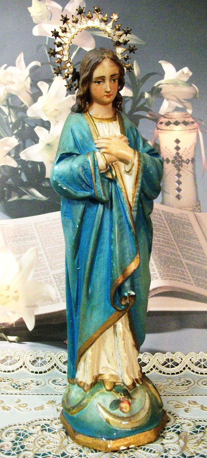 Details about Antique Virgin Mary Chakware Statue with ...