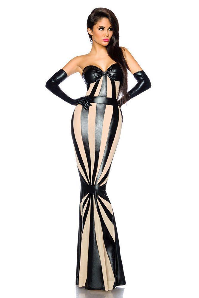 Wetlook Kleid Sexy Rock Kostüm Minirock Clubwear Partykleid Abendkleid Lackkleid