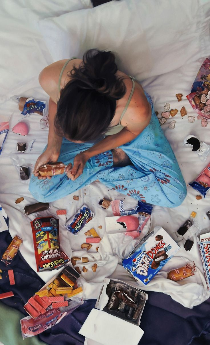 """""""Snack"""" - Lee Price, oil on linen {contemporary figurative realism artist female seated woman eating empty-calorie junk food sweets cropped #hyperreal painting #loveart} B.E.D. leepricestudio.com:"""