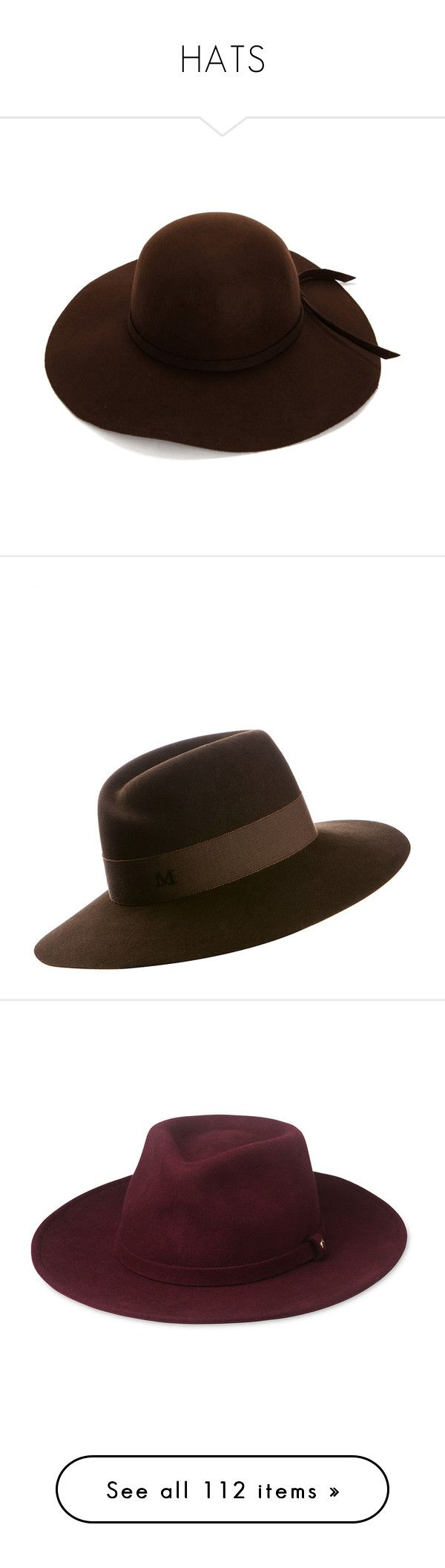 """""""HATS"""" by kiki-bi ❤ liked on Polyvore featuring accessories, hats, brown hat, brown floppy hat, floppy hat, felt hat, waterproof hat, brown felt hat, maison michel and head"""