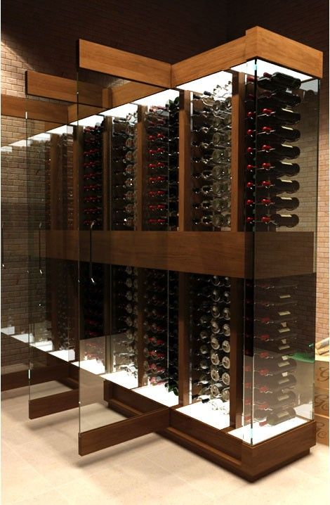 Elegante, contemporâneo e bem ordenado vinho adega Beso de Vino