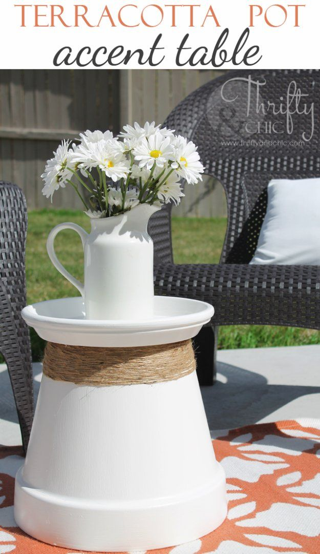 DIY Porch and Patio Ideas - Repurposed Terracotta Pot Into Accent Table  - Decor Projects and Furniture Tutorials You Can Build for the Outdoors -Swings, Bench, Cushions, Chairs, Daybeds and Pallet Signs  http://diyjoy.com/diy-porch-patio-decor-ideas