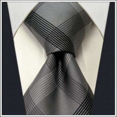 gray demask ties for men   Checked Black Dark Gray Plaids Men's Ties Neckties 100% Silk Jacquard ...