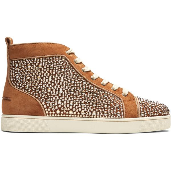 Christian Louboutin Louis Orlato high-top leather trainers ($3,295) ❤ liked on Polyvore featuring men's fashion, men's shoes, men's sneakers, brown multi, shoes, mens brown leather sneakers, mens black leather high top sneakers, mens leather shoes, mens high top shoes and mens leather high top shoes