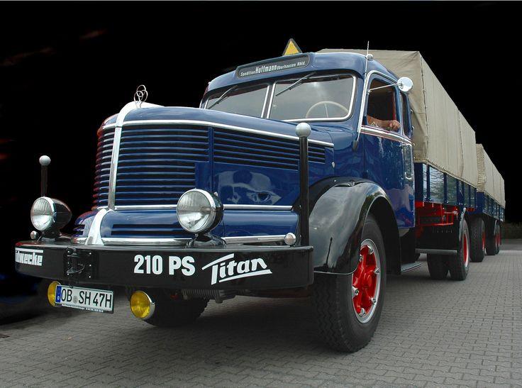 """German """"Krupp Titan"""" heavy duty long distance truck. Mid 1950s"""