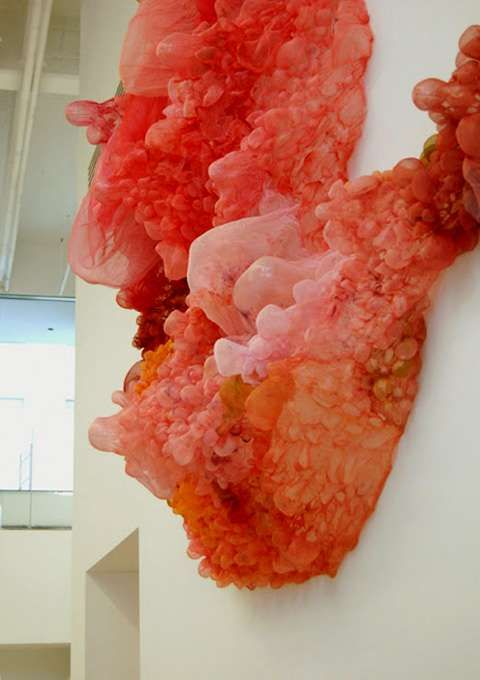 Because of their shape and suggestive color, the art pieces by American artist Lisa Kellner can be described in many different ways. From human entrails to jellyfish, the true subjects of these sculptures is still up for debate. These foamy sculptures are made of hand-formed silk and thread and art materials like paint, bleach and acrylics.