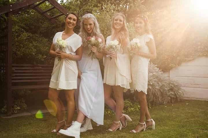 #silver #hair #bride #wedding #garden #mono #drmartens