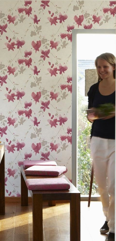 This watercolor styled floral wallpaper looks like Japanese Cherry Blossom flowers. Soo pretty.