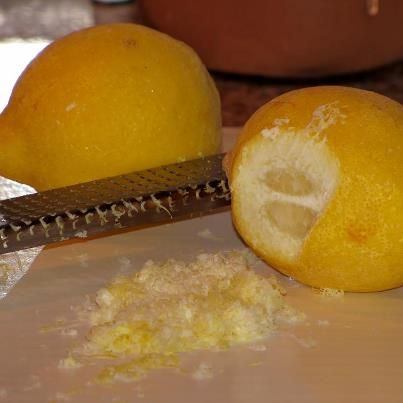 * Frozen Lemon Trick *  Thoroughly wash the outside of a lemon and put it in the freezer. When you need some fresh lemon zest, take the frozen lemon and grate it.Put the lemon back in the freezer 'til needed again Easy and so convenient!
