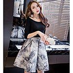 Feminino Blusa Saia Conjuntos Trabalho Sensual Moda de Rua Verão,Estampado Com Transparência Fenda Chifon Patchwork Decote Redondo Meia de 2017 por $19.99