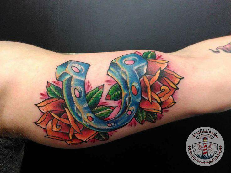 Horse shoe roses tattoo tattoo horseshoe colorful