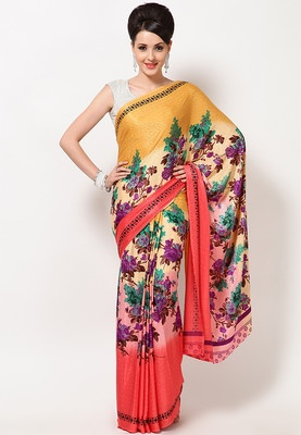 Printed saree for women from the house of Aarika and its made of crepe. Spellbound people around you wearing this mesmserising, Pink & Mustard coloured saree from the house of Aakira. Made of crepe, this saree is lightweight and highly comfortable.