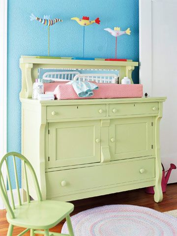Baby, baby, baby, oh:  This changing table is awesome and the fact that it can be resused makes it even better.  The mirror is lalso a nice touch.  I would add a guard rail and change the paint color though.
