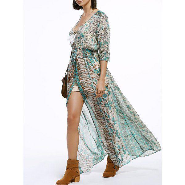 Bohemian V-Neck 3/4 Sleeve Tribal Print High Slit Women's Maxi Dress   TwinkleDeals.com